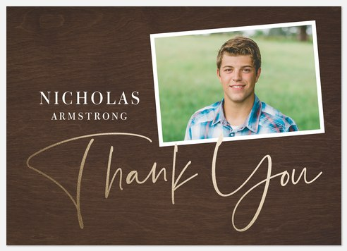 Woodgrain Snapshots Thank You Cards