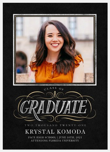 Engraved Flourish Graduation Cards