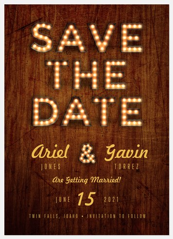 Marquee Lights Save the Date Photo Cards