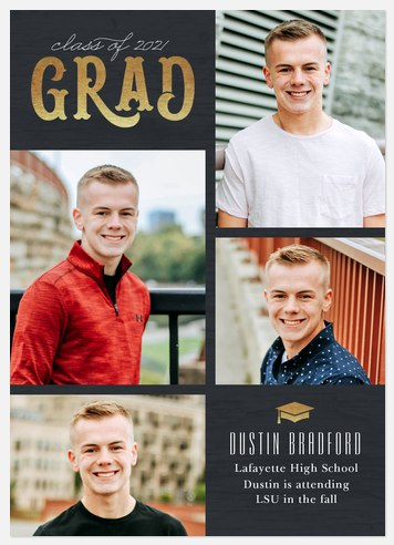 Vintage Grad Grid Graduation Cards