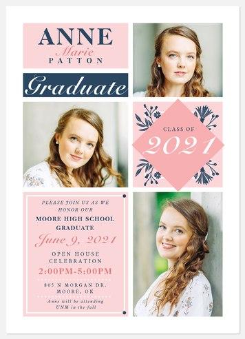 Chic Wildflowers Graduation Cards