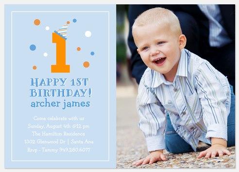 1st Party Hat Kids' Birthday Invitations