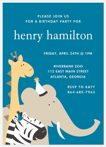 Party Animals Kids' Birthday Invitations