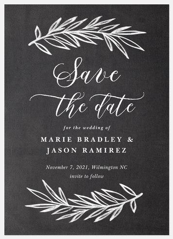 Chalkboard Laurels Save the Date Photo Cards