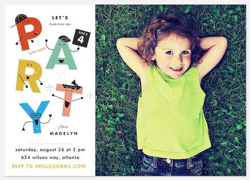 Alphabet Characters Kids' Birthday Invitations