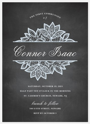 Chalkboard Lace First Communion Invitations