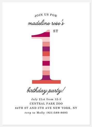 Colorful Stripes Kids' Birthday Invitations