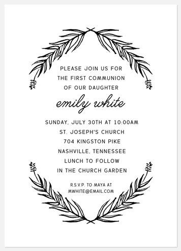 Rustic Laurels First Communion Invitations
