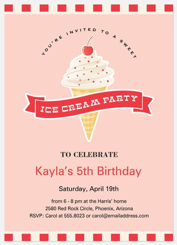 Ice-cream Social  Kids' Birthday Invitations