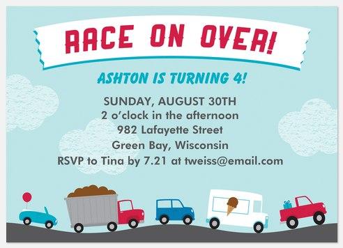 Race on Over Kids' Birthday Invitations