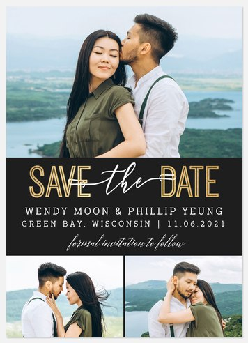 Contemporary Trio Save the Date Photo Cards