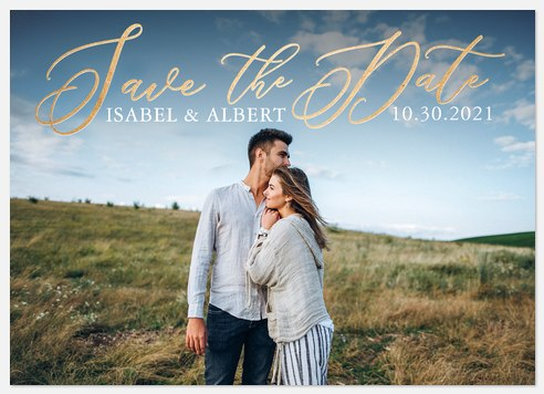 Stylishly Golden Save the Date Photo Cards