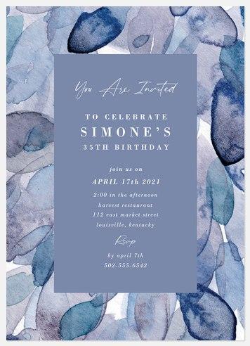 Indigo Watercolor Adult Birthday Invitations