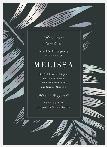 Silver Frond Adult Birthday Invitations