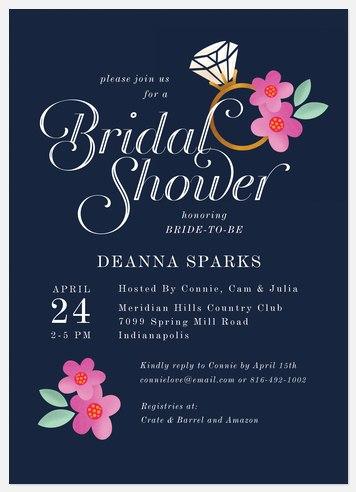 Floral Ring Bridal Shower Invitations