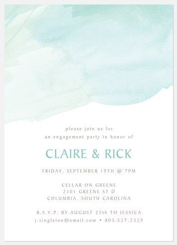 Watercolor Breeze Engagement Party Invitations