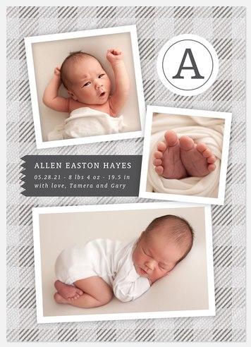 Linen Plaid Baby Birth Announcements