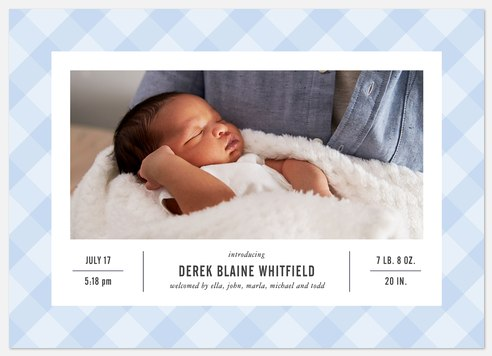 Baby Blue Gingham Baby Birth Announcements