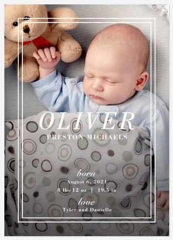 Modern Man Baby Birth Announcements