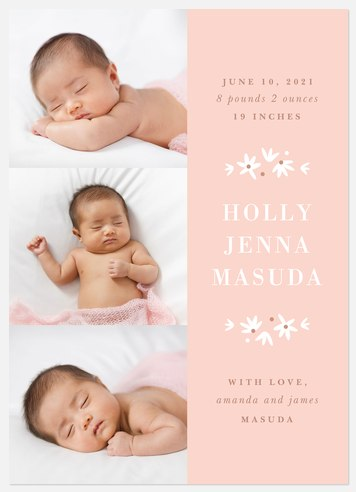 Rosy Flora Baby Birth Announcements