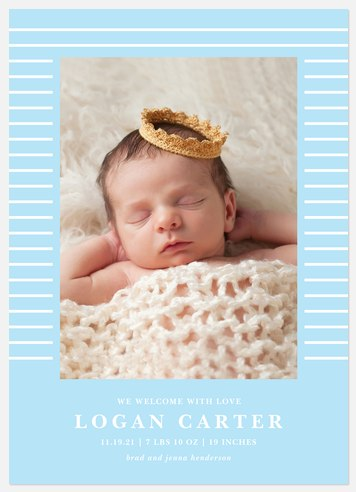 Classic Stripes Baby Birth Announcements