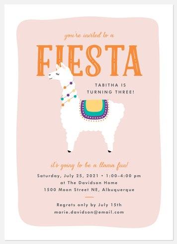 Llama Fiesta Kids' Birthday Invitations