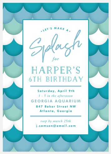 Mermaid Splash Kids' Birthday Invitations