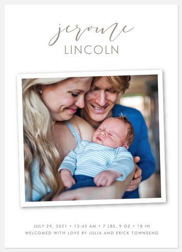 Pure & Simple Baby Birth Announcements