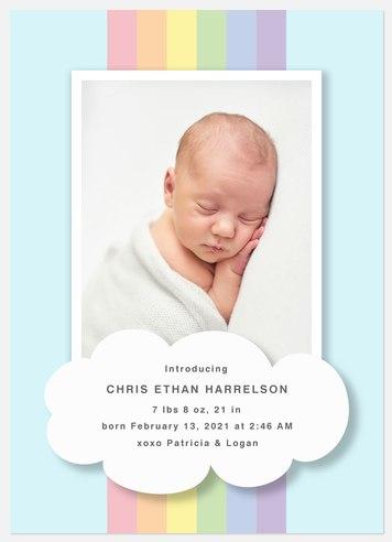 Pastel Rainbow Baby Birth Announcements