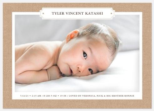 Burlap Border Baby Birth Announcements