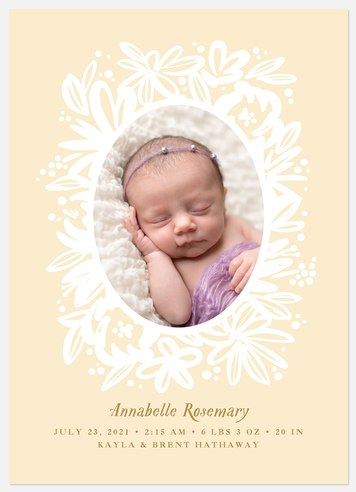 Floral Embrace Baby Birth Announcements