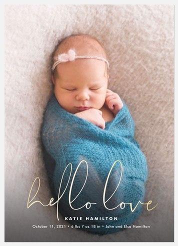 Elegant Hello Baby Birth Announcements