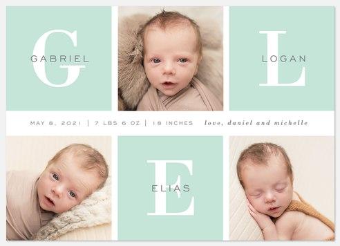 Classic Monogram Baby Birth Announcements