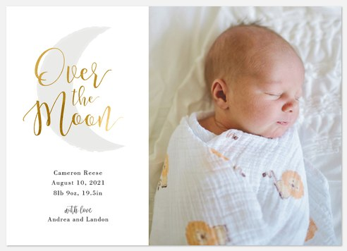 Over The Moon Baby Birth Announcements