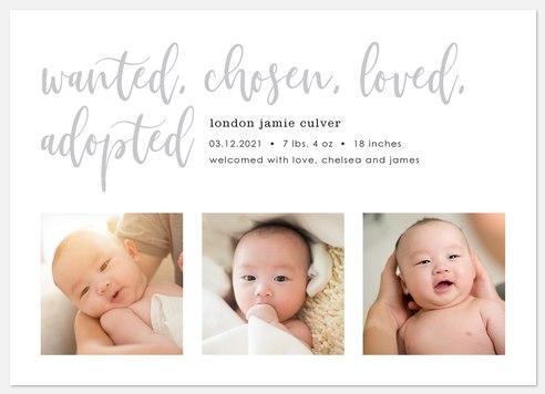 Chosen Adoption Baby Birth Announcements