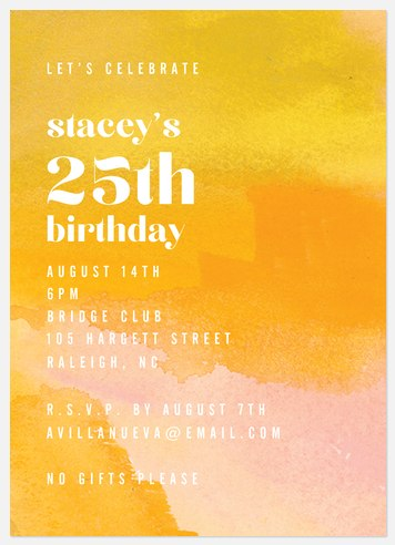 Abstract Marigold Adult Birthday Invitations