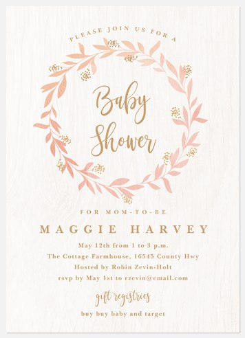 Blushing Laurel Baby Shower Invitations