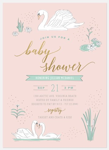 Swans Baby Shower Invitations