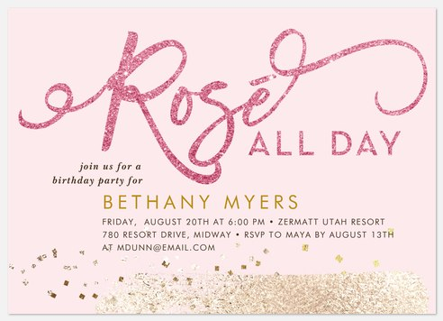 Rosé All Day Adult Birthday Invitations