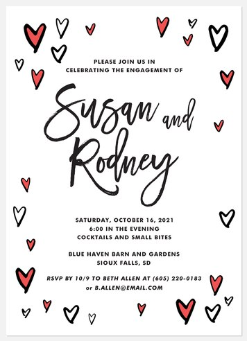 Sketched Hearts Engagement Party Invitations