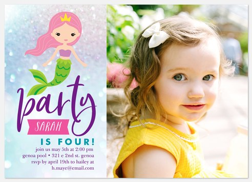 Sparkling Mermaid Kids' Birthday Invitations