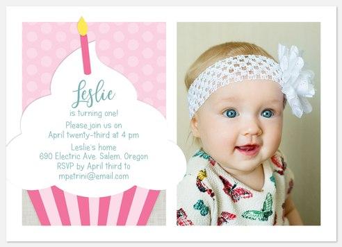 Striped Cupcake Kids' Birthday Invitations