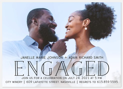 Engraved Overlay Engagement Party Invitations