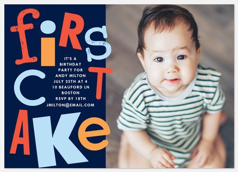 First Cake Kids' Birthday Invitations