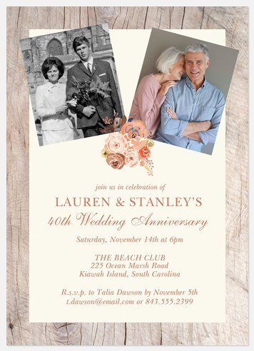 Folksy Anniversary Invitations