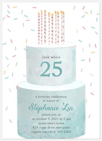 Watercolor Cake Adult Birthday Invitations