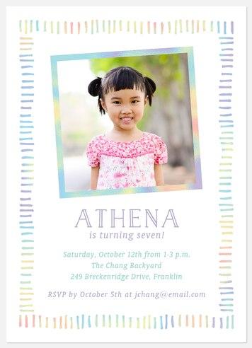 Rainbow Markers Kids' Birthday Invitations