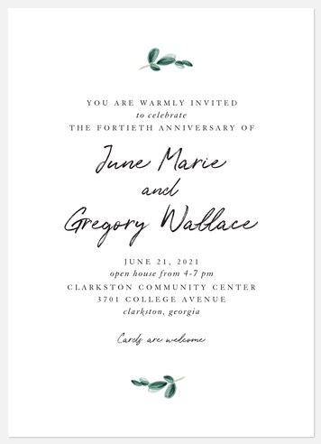 Simple Sprig Anniversary Invitations