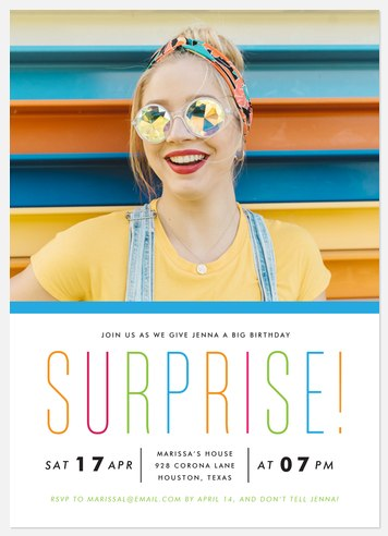 Surprise Rainbow Adult Birthday Invitations