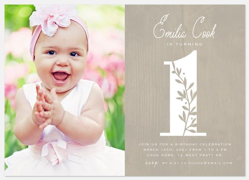Rustic Number Kids' Birthday Invitations